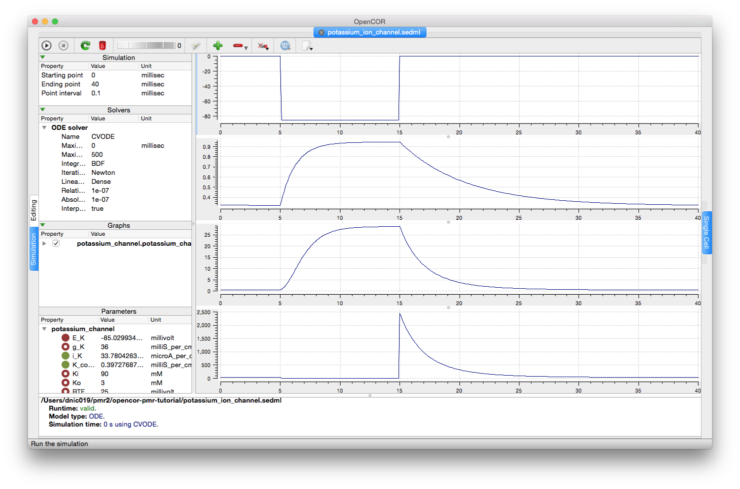 Screenshot illustrating the results of executing this potassium simulation experiment in OpenCOR.