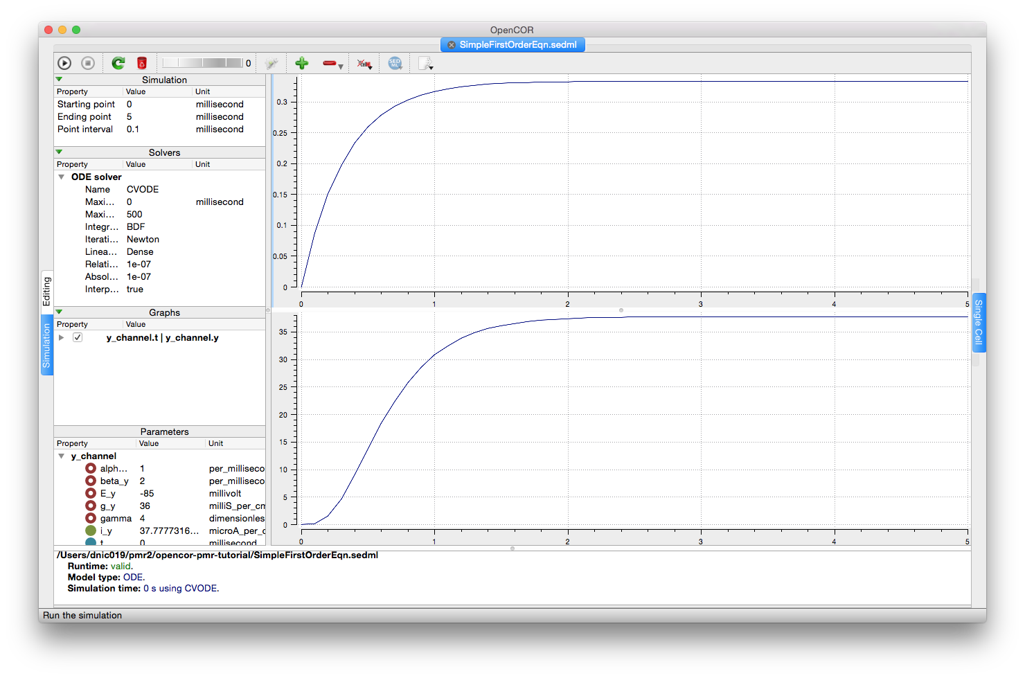 Screenshot illustrating the results of executing this first order equation simulation experiment in OpenCOR.